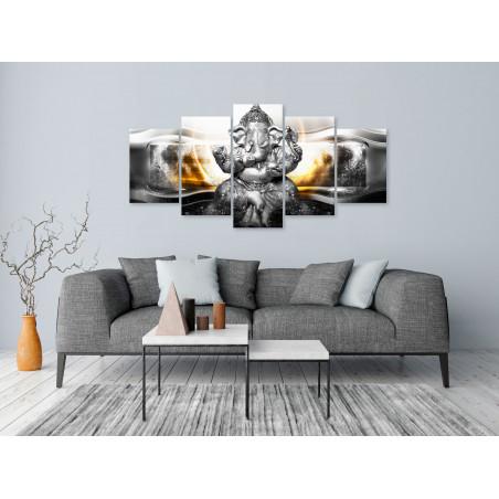 Tablou Buddha Style (5 Parts) Silver Wide 100 cm x 50 cm-01