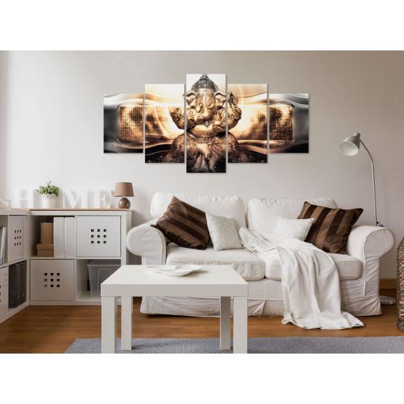 Tablou Buddha Style (5 Parts) Golden Wide 100 cm x 50 cm naturlich.ro
