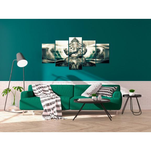 Tablou Buddha Style (5 Parts) Green Wide 100 cm x 50 cm naturlich.ro