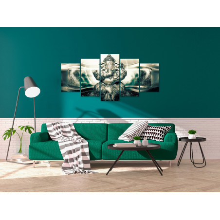 Tablou Buddha Style (5 Parts) Green Wide 100 cm x 50 cm-01