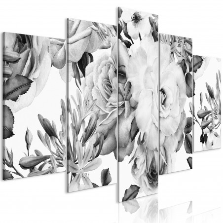 Tablou Rose Composition (5 Parts) Wide Black And White 100 cm x 50 cm-01