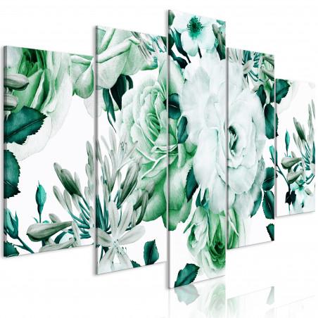 Tablou Rose Composition (5 Parts) Wide Green 100 cm x 50 cm-01