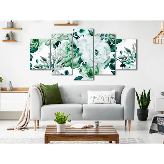 Tablou Rose Composition (5 Parts) Wide Green 100 cm x 50 cm naturlich.ro