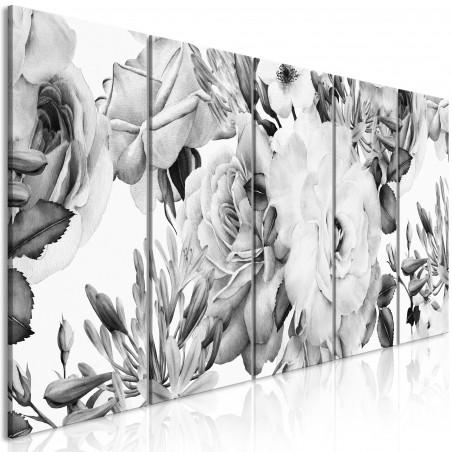 Tablou Rose Composition (5 Parts) Narrow Black And White 200 cm x 80 cm-01