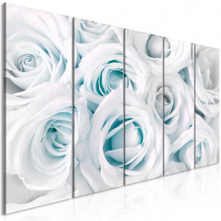 Tablou Satin Rose (5 Parts) Narrow Turquoise 200 cm x 80 cm-01