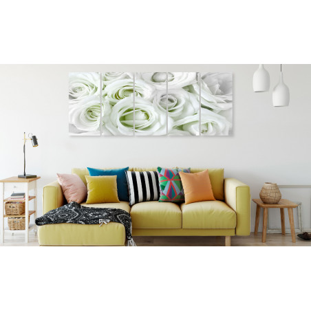 Tablou Satin Rose (5 Parts) Narrow Green 200 cm x 80 cm-01