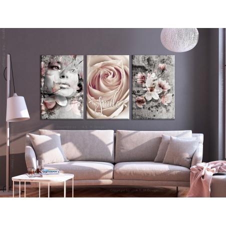 Tablou Floral Smile (3 Parts) 120 cm x 60 cm-01