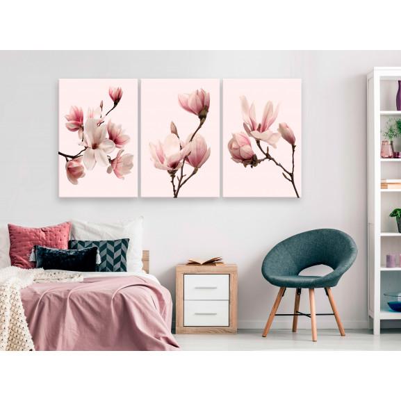 Tablou Spring Magnolias (3 Parts) 120 cm x 60 cm naturlich.ro