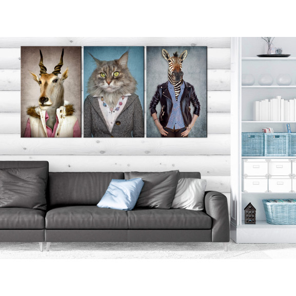 Tablou Menagerie (3 Parts) 120 cm x 60 cm naturlich.ro
