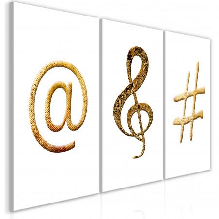 Tablou Golden Signs (3 Parts) 120 cm x 60 cm-01