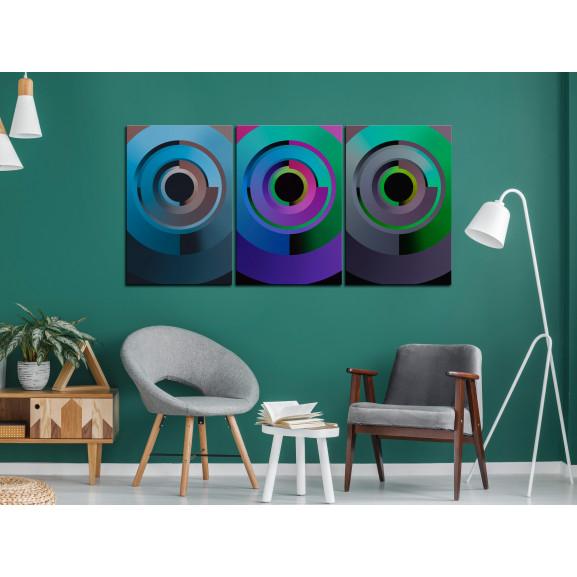Tablou Gradient Circles (3 Parts) 120 cm x 60 cm naturlich.ro