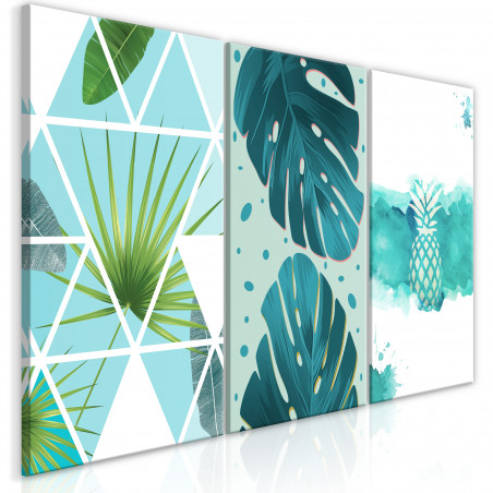 Tablou Turquoise Tones (3 Parts) 120 cm x 60 cm-01