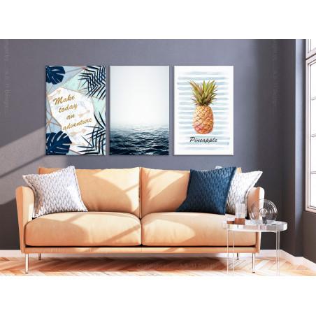 Tablou Pineapple Quote (3 Parts) 120 cm x 60 cm-01