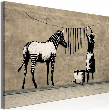 Tablou Banksy: Washing Zebra On Concrete (1 Part) Wide 120 cm x 80 cm-01