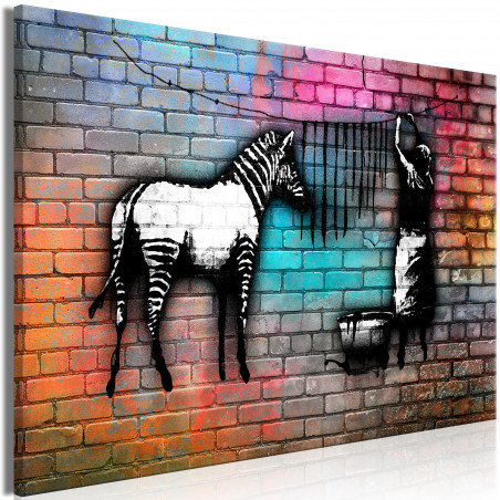 Tablou Washing Zebra Colourful Brick (1 Part) Wide 120 cm x 80 cm-01