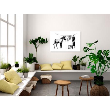 Tablou Banksy: Washing Zebra (1 Part) Wide 120 cm x 80 cm-01