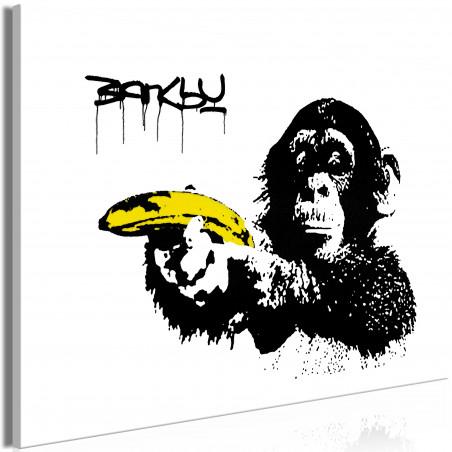 Tablou Banksy: Monkey With Banana (1 Part) Wide 120 cm x 80 cm-01