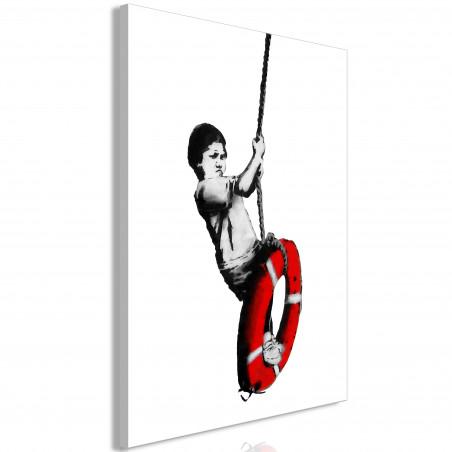 Tablou Banksy: Boy On Rope (1 Part) Vertical 40 cm x 60 cm-01