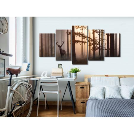 Tablou Morning (5 Parts) Wide Brown 100 cm x 50 cm-01