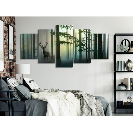 Tablou Morning (5 Parts) Wide Green 100 cm x 50 cm-01