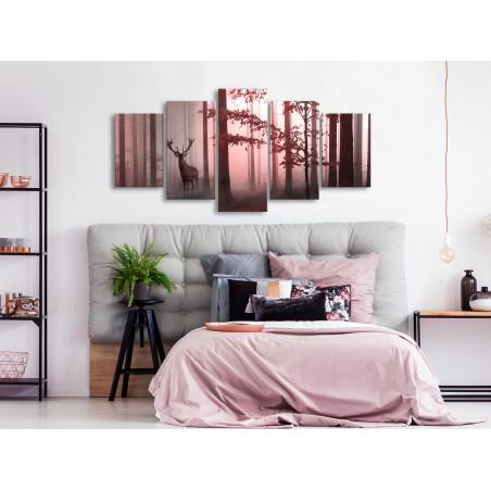 Tablou Morning (5 Parts) Wide Pink 100 cm x 50 cm-01