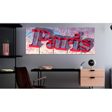 Tablou Red Paris (5 Parts) Narrow 200 cm x 80 cm-01