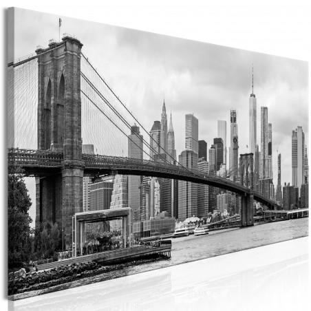 Tablou Road To Manhattan (1 Part) Narrow Black And White 120 cm x 40 cm-01