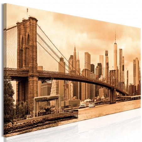Tablou Road To Manhattan (1 Part) Narrow Sepia 120 cm x 40 cm-01