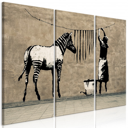 Tablou Banksy: Washing Zebra On Concrete (3 Parts) 120 cm x 80 cm-01