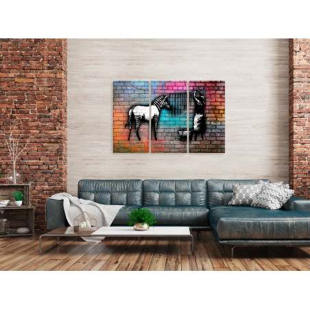 Tablou Washing Zebra Colourful Brick (3 Parts) 120 cm x 80 cm-01