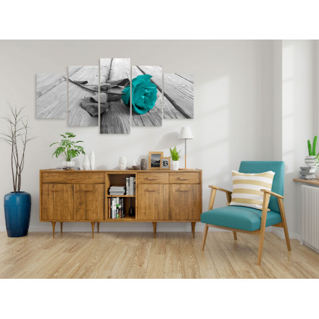 Tablou Rose On Wood (5 Parts) Wide Turquoise 100 cm x 50 cm-01