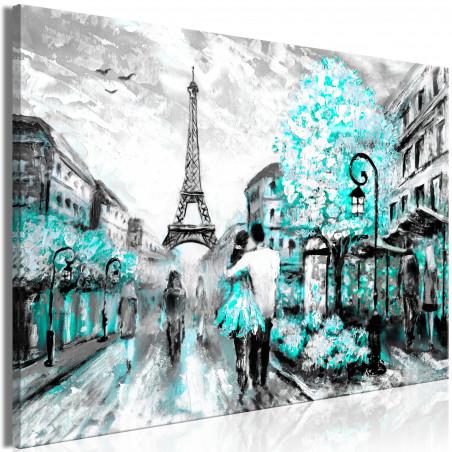 Tablou Colourful Rendez-Vous (1 Part) Wide Turquoise 120 cm x 80 cm-01