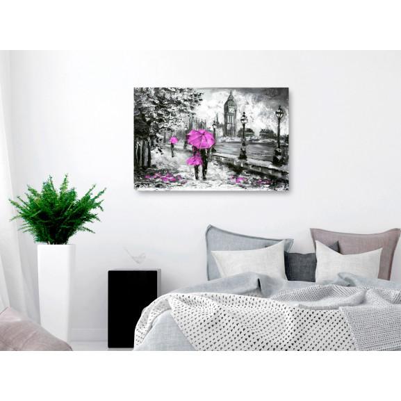 Tablou Walk In London (1 Part) Wide Pink 120 cm x 80 cm naturlich.ro