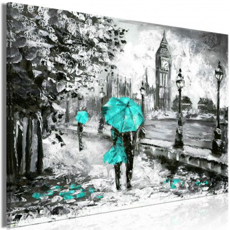 Tablou Walk In London (1 Part) Wide Turquoise 120 cm x 80 cm-01