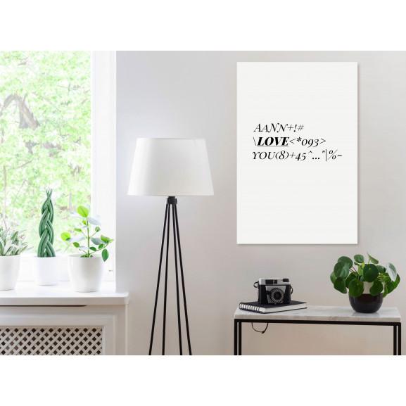 Tablou Love Code (1 Part) Vertical 40 cm x 60 cm naturlich.ro
