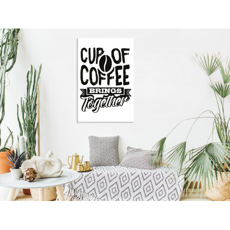 Tablou Cup Of Coffee Brings Together (1 Part) Vertical 40 cm x 60 cm-01