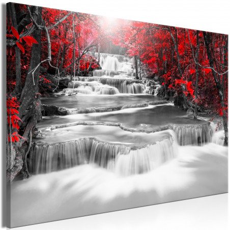 Tablou Cascade Of Thoughts (1 Part) Wide Red 120 cm x 80 cm-01