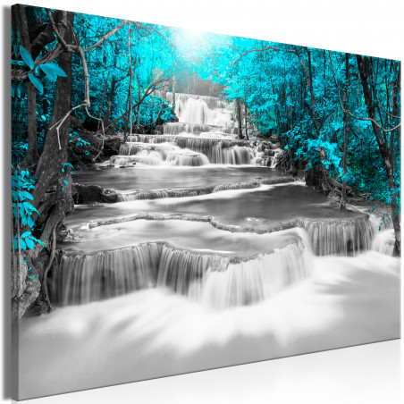 Tablou Cascade Of Thoughts (1 Part) Wide Turquoise 120 cm x 80 cm-01