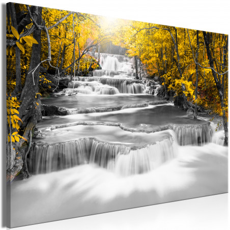 Tablou Cascade Of Thoughts (1 Part) Wide Yellow 120 cm x 80 cm-01