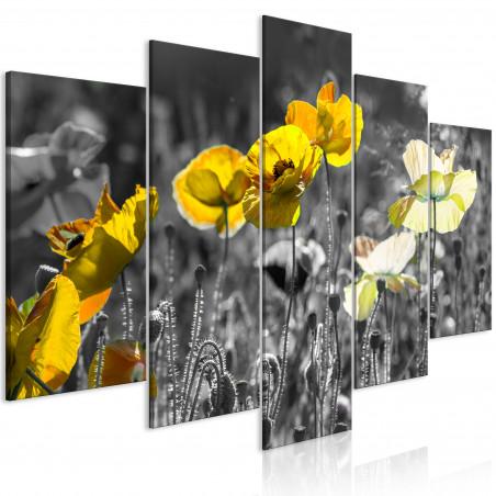 Tablou Yellow Poppies (5 Parts) Wide 100 cm x 50 cm-01