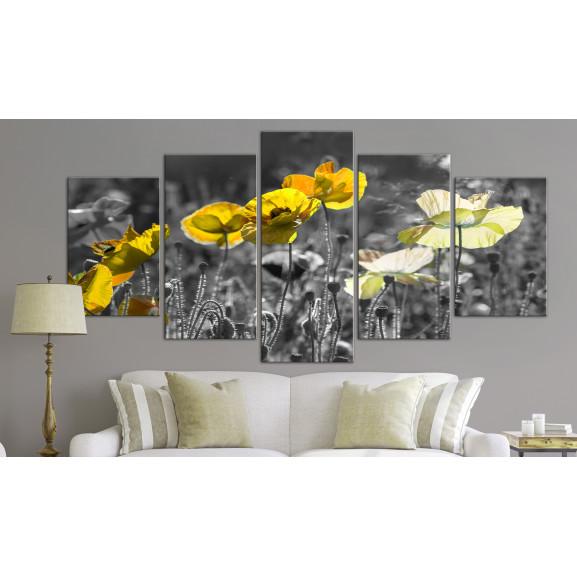 Tablou Yellow Poppies (5 Parts) Wide 100 cm x 50 cm naturlich.ro