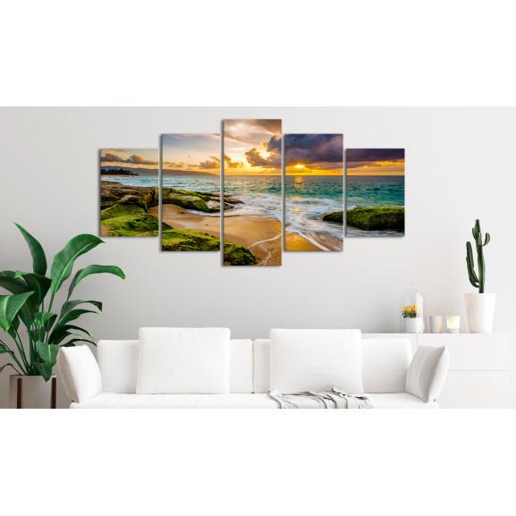 Tablou Turquoise Sea (5 Parts) Wide 100 cm x 50 cm naturlich.ro