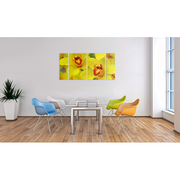 Tablou Orchids Intensity Of Yellow Color 120 cm x 60 cm naturlich.ro