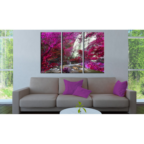 Tablou Beautiful Waterfall: Pink Forest 120 cm x 80 cm naturlich.ro
