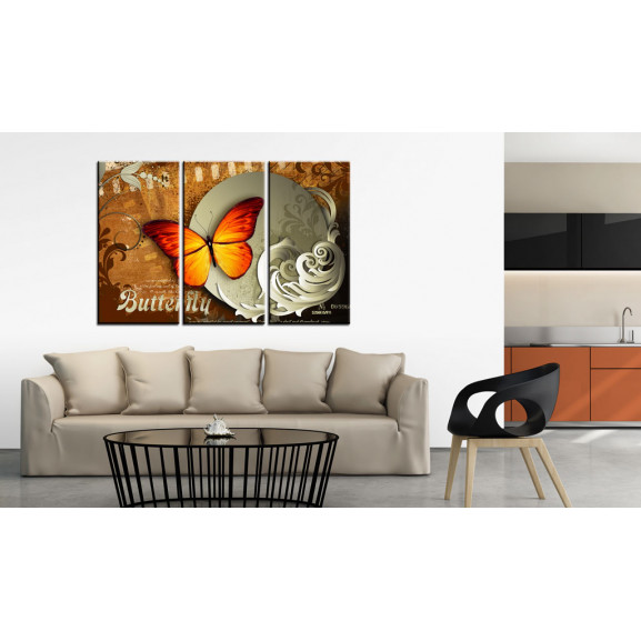 Tablou Fiery Butterfly And Full Moon 120 cm x 80 cm naturlich.ro