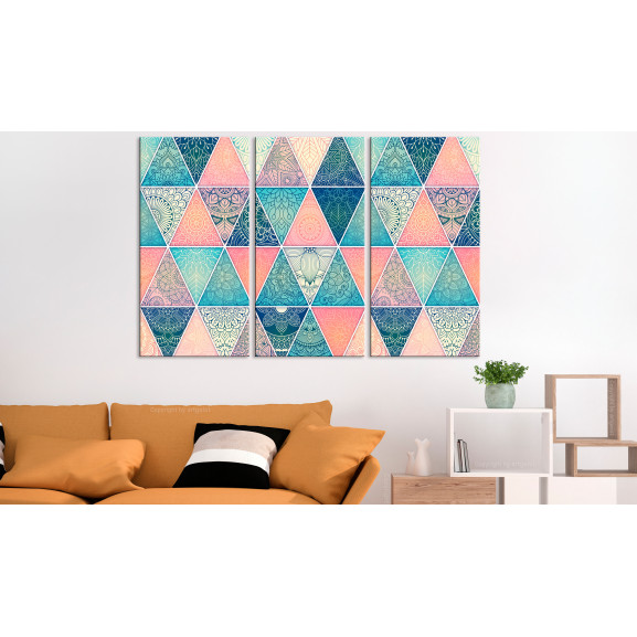 Tablou Oriental Triangles (3 Parts) 120 cm x 80 cm naturlich.ro