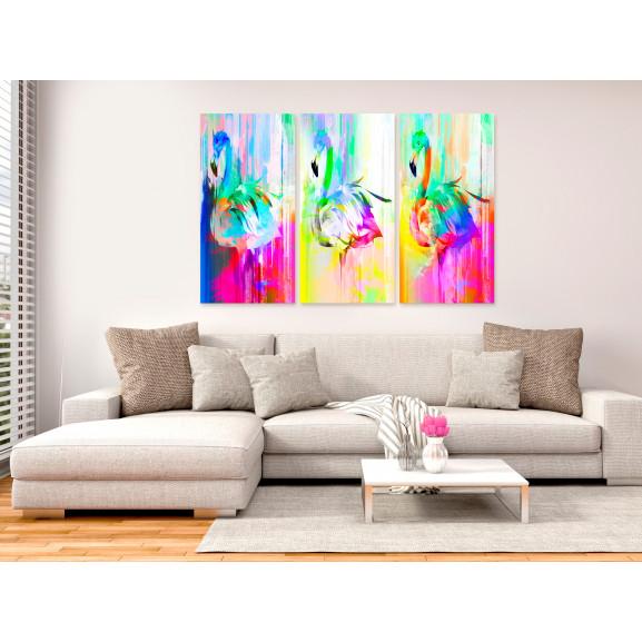 Tablou Colourful Flamingos (3 Parts) 120 cm x 80 cm naturlich.ro
