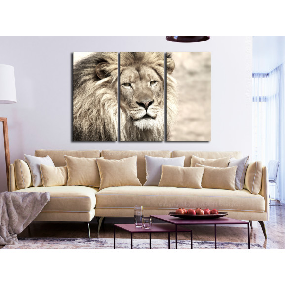 Tablou The King Of Beasts (3 Parts) Beige 120 cm x 80 cm naturlich.ro