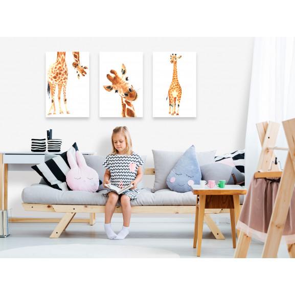 Tablou Funny Giraffes (3 Parts) 120 cm x 60 cm naturlich.ro