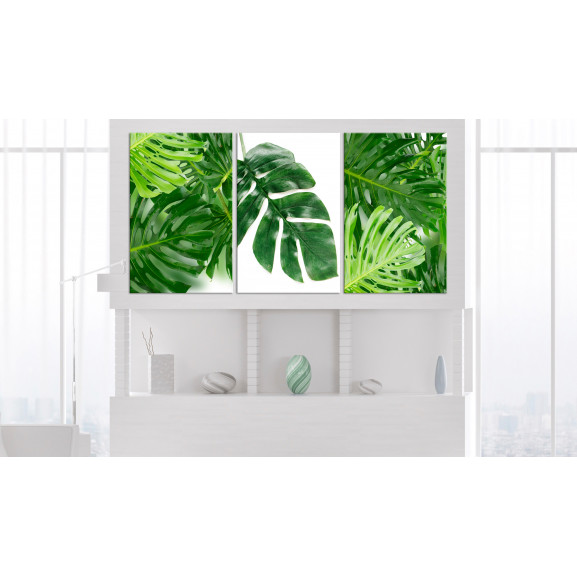 Tablou Palm Leaves (3 Parts) 120 cm x 60 cm naturlich.ro